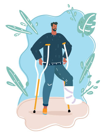 Vector cartoon illustration of man with broken leg with crutches wolking outside.