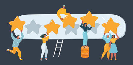 Vector illustration of Five stars rating.Tiny people are holding big giant stars over the heads. Feedback consumer or customer review evaluation, satisfaction level. Human character on dark. Иллюстрация
