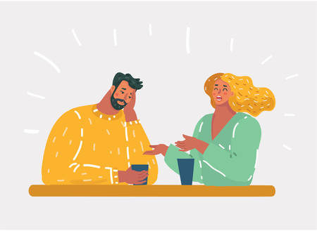 Vector cartoon illustration of girl talking small talk chatter with man, who bored. Unhappy couple or uninteresting story talking by coworker. Ilustração