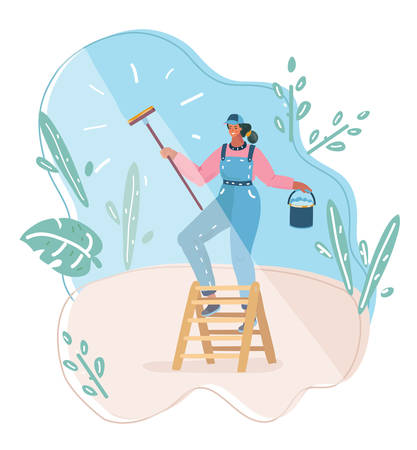 Vector cartoon illustration of young woman who washing the window cleaner.