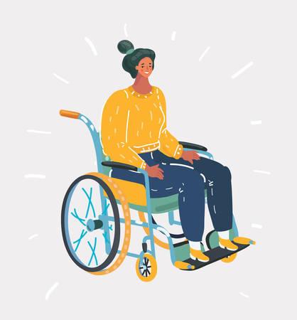 Vector cartoon illustration of a senior woman on wheelchair. Disablad character on white.