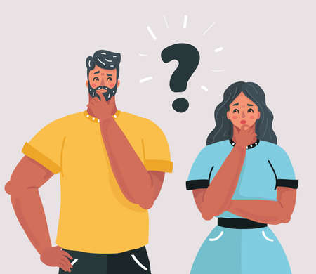 Vector cartoon illustration of Couple with question marks in front of their faces. Man and woman in doubt. Human character on white isolateed background.