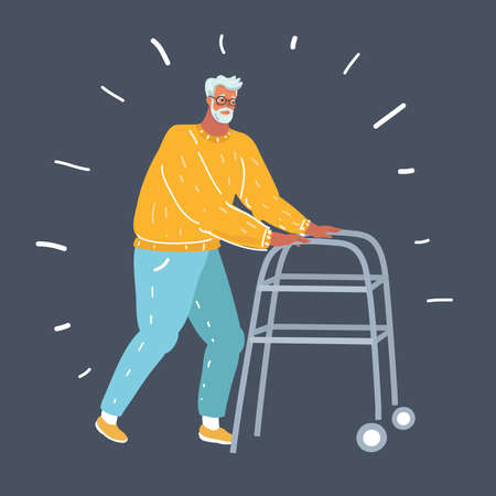 Vector cartoon illustration of old man with a walker on dark background.