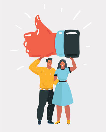 Vector cartoon illustration of Man and woman hold big thumb up icon. Successful social media, teamwork. Business poster, card for presentation, social media, banner, web page. Flat design vector illustration