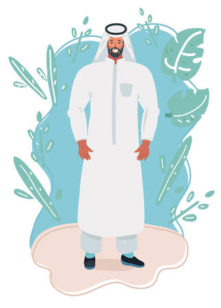 Vector cartoon illustration of Young Arabic man wearing traditional wear on white isolated background.