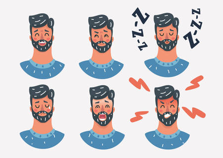 Vector cartoon illustration of various expressions of a man. Different male emotions set. Human male characters face on white background.