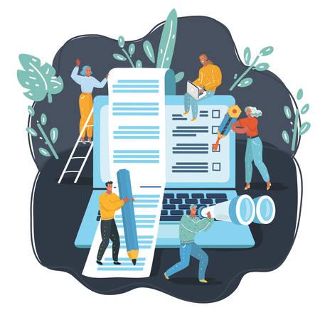 Vector cartoon illustration of blogging, education, creative, content management, web page, social media, news, copywriting, seminars, tutorial, testing, searching, analitycs. big laptop, tiny people