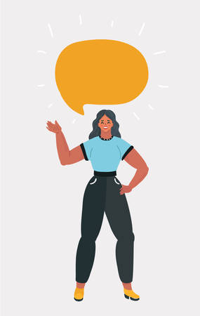 Vector cartoon illustration of standing woman with blank speech bubble on white background. Vettoriali