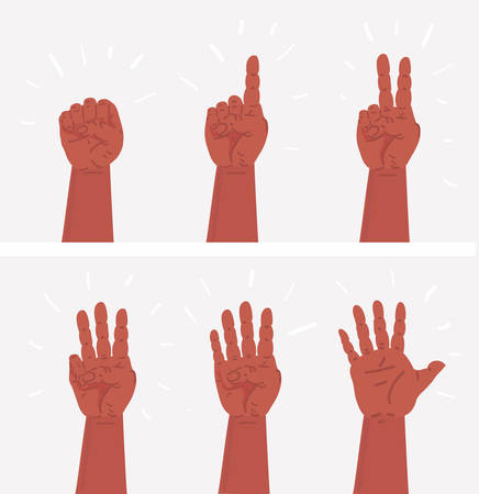 Vector cartoon set of illustration counting hands. Concept of human palm, gesture group for child schooling or body language. Objects on white background. From one to five.
