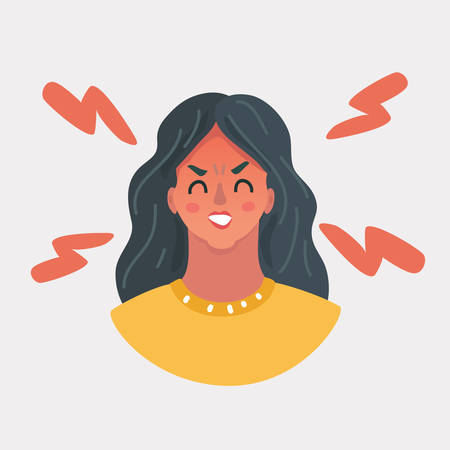 Vector cartoon illustration of face angry girl. Close up portrate on white background.