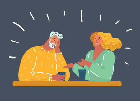 Vector cartoon illustration of man making an exasperated expression gesture on a bad date at the restaurant. Woman tells boring stories. Evening unsuccessful date.