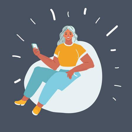 Illustration de dessin animé de vecteur de femme assise sur un fauteuil poire sur fond sombre. Vecteurs