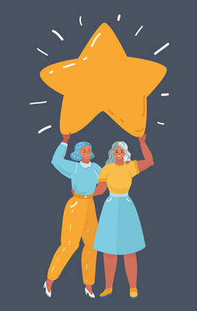 Vector cartoon illustration of two woman hold shine big giant star above and give hugs each other. Victory, win, happy, throphy concept on dark bakcground. Human character on dark background.