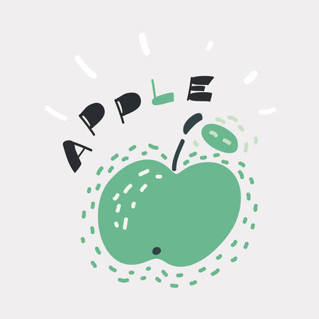Cartoon vector illustration of apple icon. Funny hand drawn picture. Lettering lettering. Object on isolated dark background