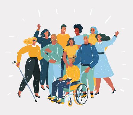 Illustrazione del fumetto di vettore di persone disabili, volontari personaggi portatori di handicap, studenti diversi, ragazza disabile in sedia a rotelle, donna cieca. Amici insieme. Gruppo di persone su sfondo bianco.