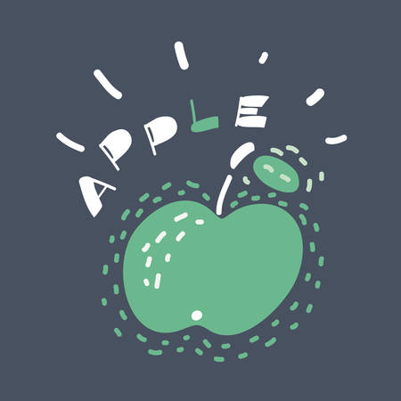 Cartoon vector illustration of Big green apple shining on a dark background. Lettering name+
