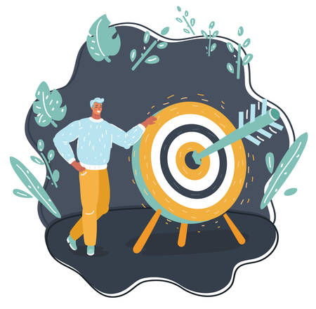 Vector cartoon illustration with characterman standing with a big target and arrow on dark background. Well done.
