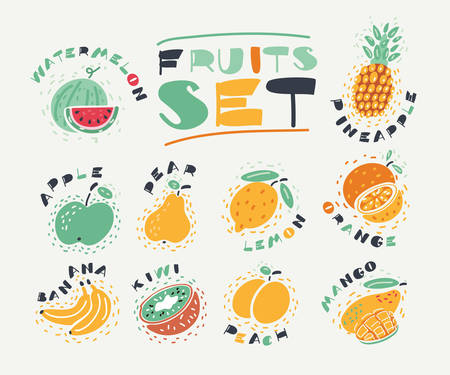 Cartoon illustration of collection of fruits. Hand drawn fresh food design elements isolated on white background and names. Archivio Fotografico - 131675565