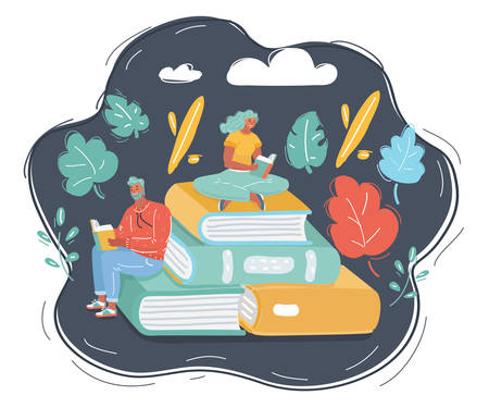 Cartoon vector illustration of Young male and female readers sitting on stack of giant books and reading. Literature fans, student, education concept, fair. Human character on dark background. 向量圖像