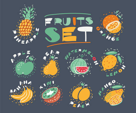 Cartoon vector illustration of Fruits and berries set. Hand drawn sketch style on dark backgoround.