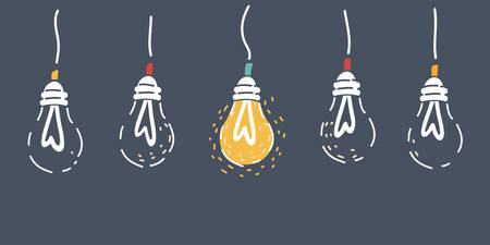 Cartoon vector illustration of lighting bulb with glowing filament edison ligt bulbs on dark. 向量圖像