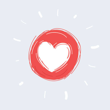Cartoon vector illustration of Heart Love Icon on white isolated background. 向量圖像