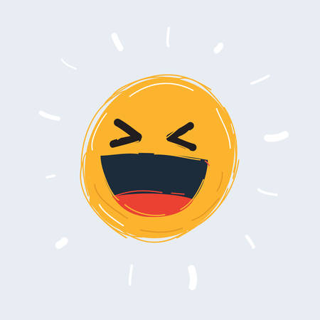 Cartoon of yellow cartoon bubble emoticons for chat comment reactions Archivio Fotografico - 135407822
