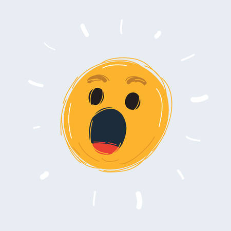 Cartoon of Wonder emoticon icon with open mouth on white Archivio Fotografico - 135407825