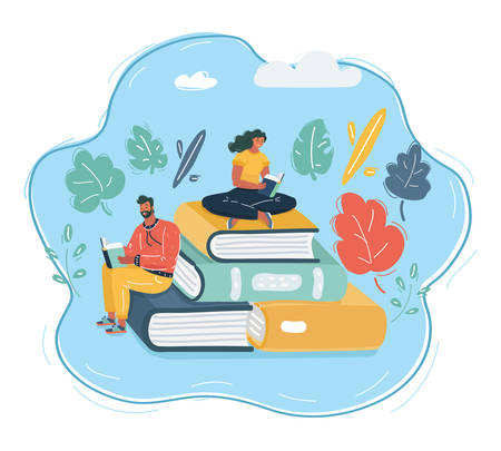 Cartoon vector illustration of People Who Love To Read Reading Books Around Giant Book. Man and woman are reading. Student, education, fair, courses concept. 向量圖像