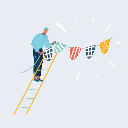 Cartoon vector illustration of Happy man hanging flags or bunting garland. Smiling character decorating house. Cute funny celebration concept isolated on white background.