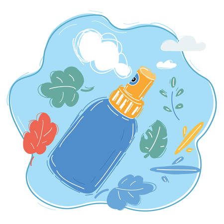 Cartoon vector illustration of Spray Icon Symbol. Hand drawn object. Cosmetic or cosmetics or perfume fragrance concept, aroma, air freshener Archivio Fotografico - 135617951