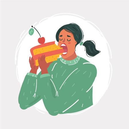 Cartoon-Vektor-Illustration der Frau einen großen Bissen aus großen Kuchen.