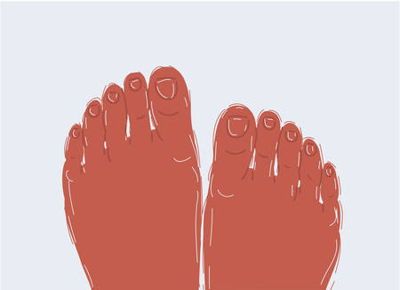 Cartoon vector illustration of Relaxed feet on white background. Archivio Fotografico - 135617953