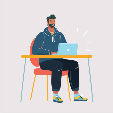 Cartoon vector illustration of man looking at laptop display while sitting at the desk Human character on white background Archivio Fotografico - 135617956