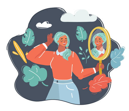 Cartoon vector illustration of woman with lovley make-up in mirror.