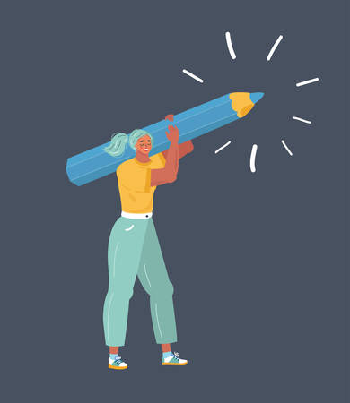 Vector cartoon illustration of woman with a giant pencil on his shoulder. Human character on dark. Writer, bloggers, journalists, interviewer, screenwriter, copywriter, author, draftsman.