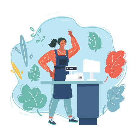 Cartoon vector illustration of female Cashier in the apron. Cash register desk or checkout counter at grocery store. Credit card payment. Woman assistant of a retail shop.