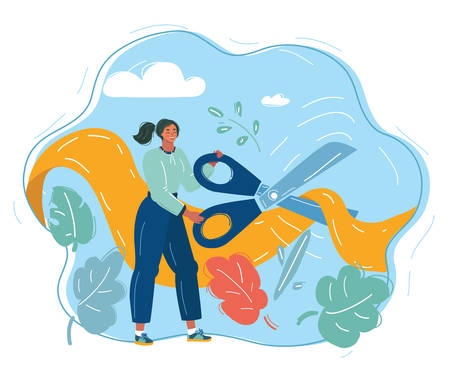Cartoon vector illustration of girl, cutting yellow ribbon by giant scissors. Human character on blue background. 일러스트