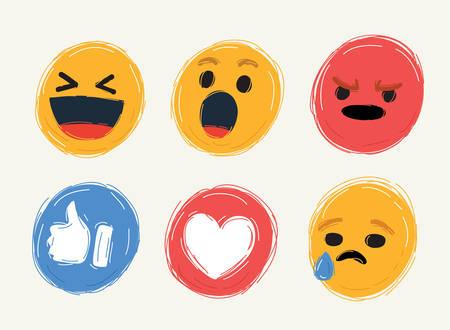 Ilustración vectorial de dibujos animados de Cute Cartoon Face Emotion Mood. Colección de redes sociales en blanco.