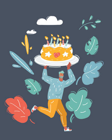Cartoon vector illustration of tiny man Holding big Birthday Cake with Candle and run. Character on dark background.