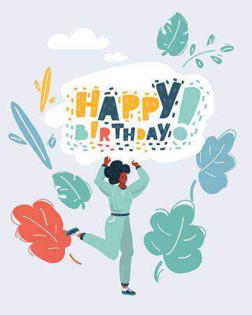 Cartoon vector illustration of Happy Birthday greeting cards of birthday celebration. Woman hold woman holding a greeting words on white background.