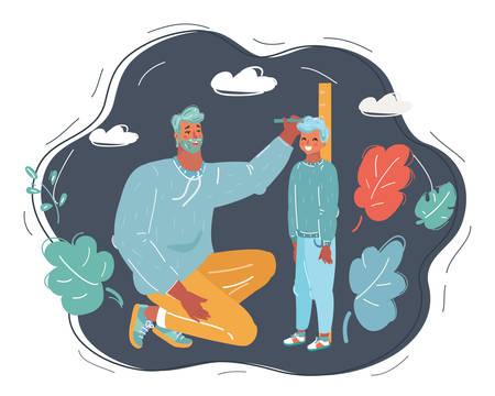 L'illustration vectorielle de dessin animé du père mesure la croissance de son fils sur fond sombre.