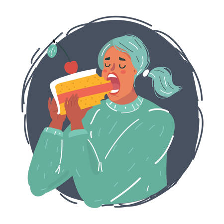 Cartoon vector illustration of woman greedily eats big peace of cake in the night.