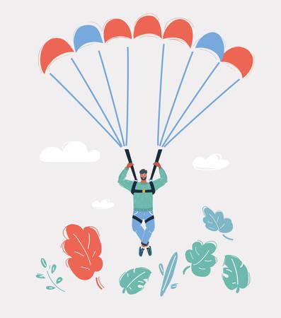 Ilustración de vector de dibujos animados de hombre saltar con paracaídas sobre fondo blanco.