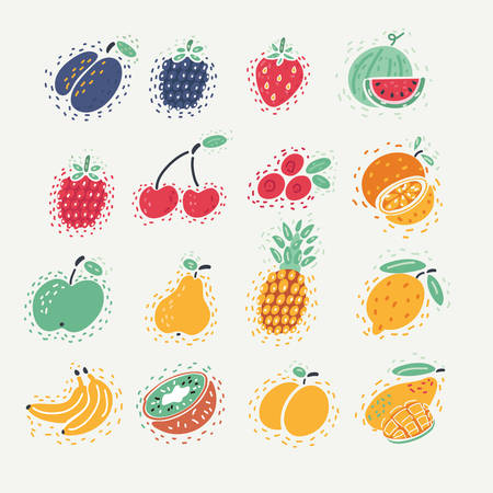 Cartoon vector illustration of Forest berry. Sweet fruit. plum, blackberry, strawberry, watermelon, raspberry, cherry, cranberry, orange, apple, pear, pineapple, lemon, banana, kiwi, peach, mango 向量圖像