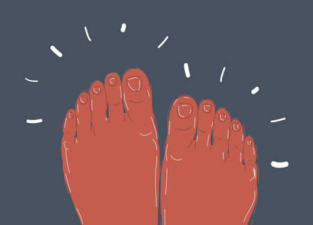 Cartoon vector illustration of Sketch of Feet in bed, Hand drawn vector illustration