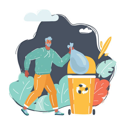 Cartoon vector illustration of Tidy man. Hold litter throw trashcan.