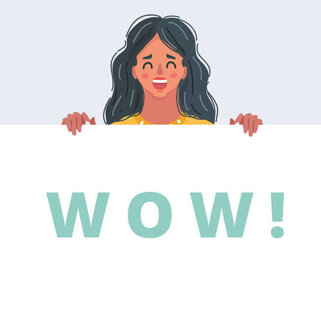 Cartoon vector illustration of Wow female face. Surprised young woman with open mouth and wow! poster.