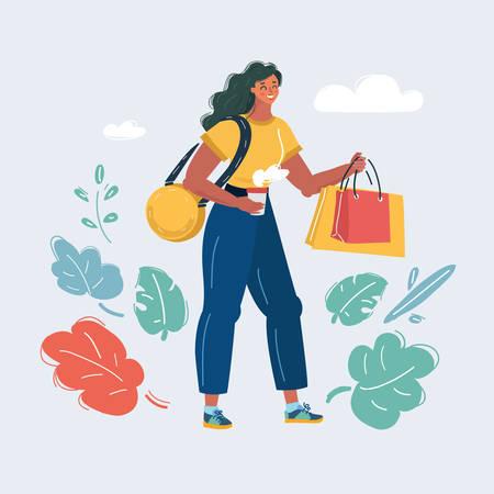 Vector cartoon illustration of Shopaholic woman on white background. Consumerism, Shopaholic, sales concept on a dark background. Archivio Fotografico - 135705687