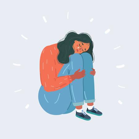 Illustration vectorielle de dessin animé d'une femme souffrant de dépression assise sur le sol et pleurant. Caractère Teen sur fond isolé blanc.